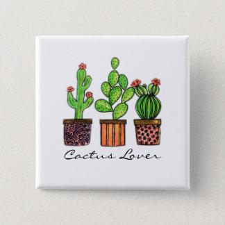 Cute Watercolor Cactus In Pots Pinback Button