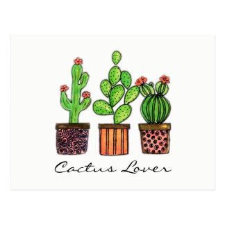 Cute Watercolor Cactus In Pots Postcard
