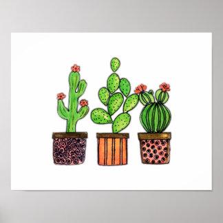 Cute Watercolor Cactus In Pots Poster