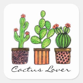 Cute Watercolor Cactus In Pots Square Sticker