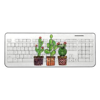 Cute Watercolor Cactus In Pots Wireless Keyboard