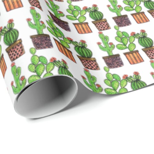 Cute Watercolor Cactus In Pots Wrapping Paper