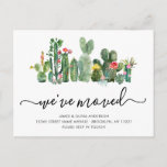 Cute Watercolor Cactus We've Moved New Home Moving Announcement Postcard