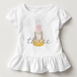 Cute Watercolor Cake Girl's Birthday Shirt