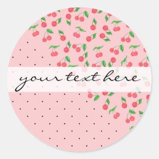 cute watercolor cherry black polka dots pattern classic round sticker