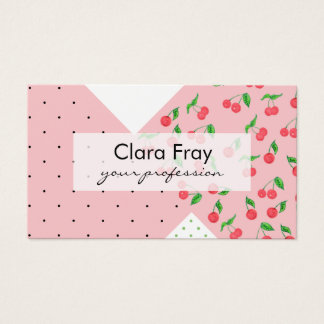 cute watercolor cherry drawing polka dots pattern business card