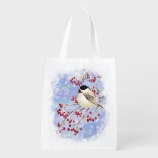 Cute Watercolor Chickadee Berries Christmas Snow Grocery Bag
