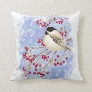 Cute Watercolor Chickadee Berries Snow Scene Art Pillow