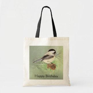 Cute Watercolor Chickadee Bird Birthday Theme Tote Bag