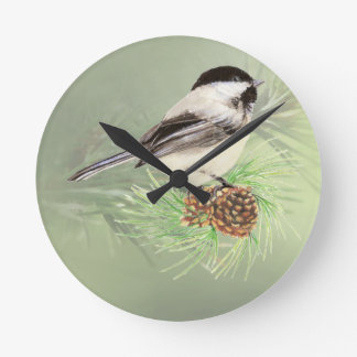 Cute Watercolor Chickadee Bird in Pine Tree Wallclocks