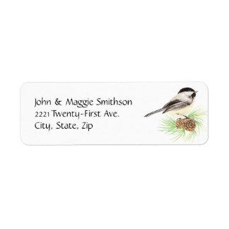 Cute Watercolor Chickadee Bird Pine Tree Label