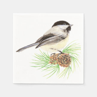 Cute Watercolor Chickadee Bird Pine Tree Napkin