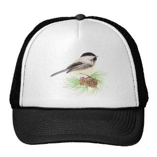 Cute Watercolor Chickadee Bird Pine Tree Trucker Hat