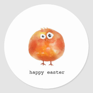 Cute watercolor chicken happy Easter Classic Round Sticker