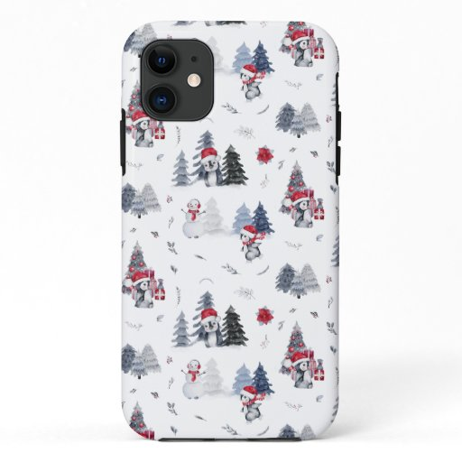 Cute Watercolor Christmas Holiday Penguin Pattern iPhone 11 Case