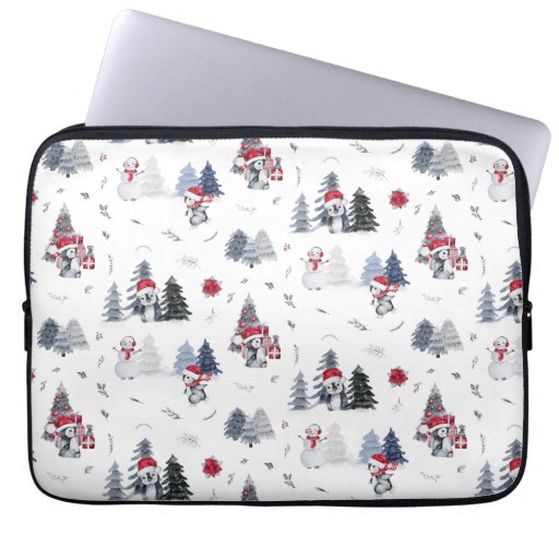 Cute Watercolor Christmas Holiday Penguin Pattern Laptop Sleeve
