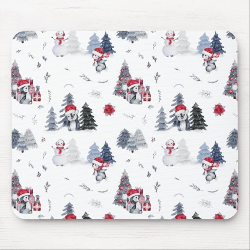 Cute Watercolor Christmas Holiday Penguin Pattern Mouse Pad