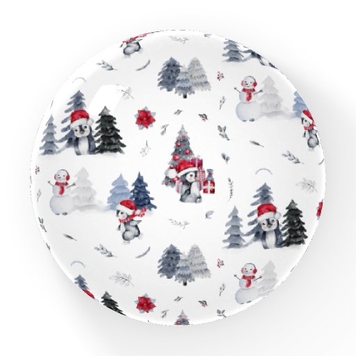Cute Watercolor Christmas Holiday Penguin Pattern Paperweight
