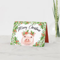 Cute Watercolor Christmas Pig and Berries Holiday Card