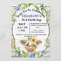 Cute Watercolor Cow 2nd Birthday Invitation