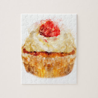 Cute Watercolor Cupcake Jigsaw Puzzle