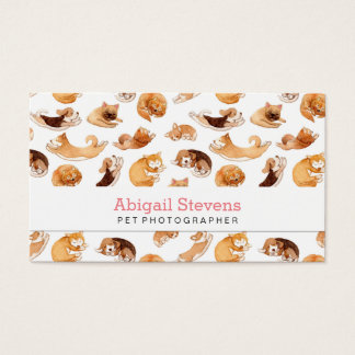 Cute Watercolor Dogs Illustrated Pattern Business Card