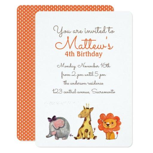Cute Watercolor elephant giraffe lion BIRTHDAY Card