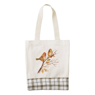 Cute Watercolor Finch Bird Couple on Tree Branch Zazzle HEART Tote Bag