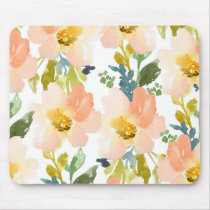 Cute Watercolor Floral Pattern Mouse Pad
