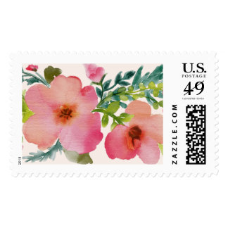 Cute watercolor floral postage