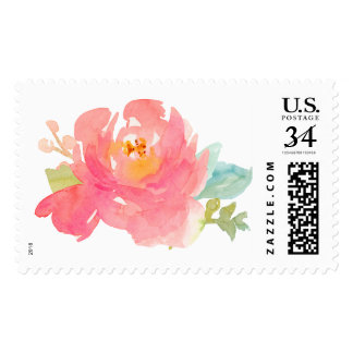 Cute Watercolor Floral Stamp. Painted Flower Stamp