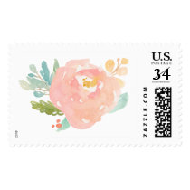 Cute Watercolor Flower Stamp. Watercolor Peony Postage