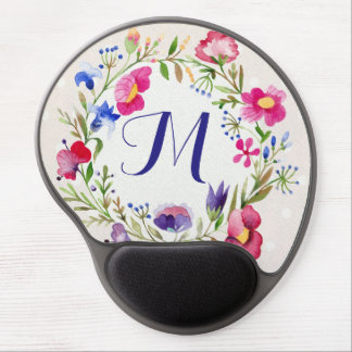 Cute Watercolor Flowers Floral Fine Monogram Gel Mouse Pad