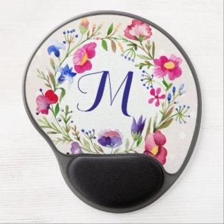 Cute Watercolor Flowers Floral Fine Monogram Gel Mouse Pad
