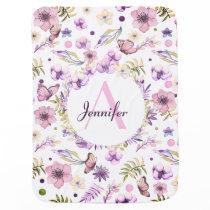 Cute Watercolor Flowers Pink Girly Custom Name Baby Blanket