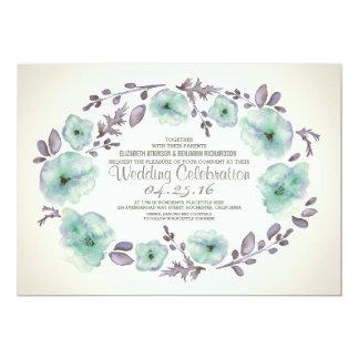 Cute watercolor flowers wreath wedding invites
