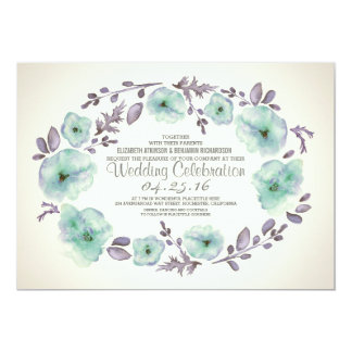 "Cute watercolor flowers wreath wedding invites 5"" x 7"" invitation card"