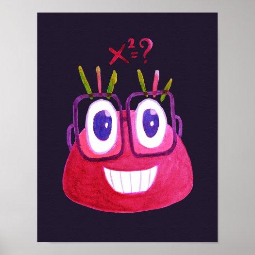 Cute Watercolor Geek Candy Character Mathematician