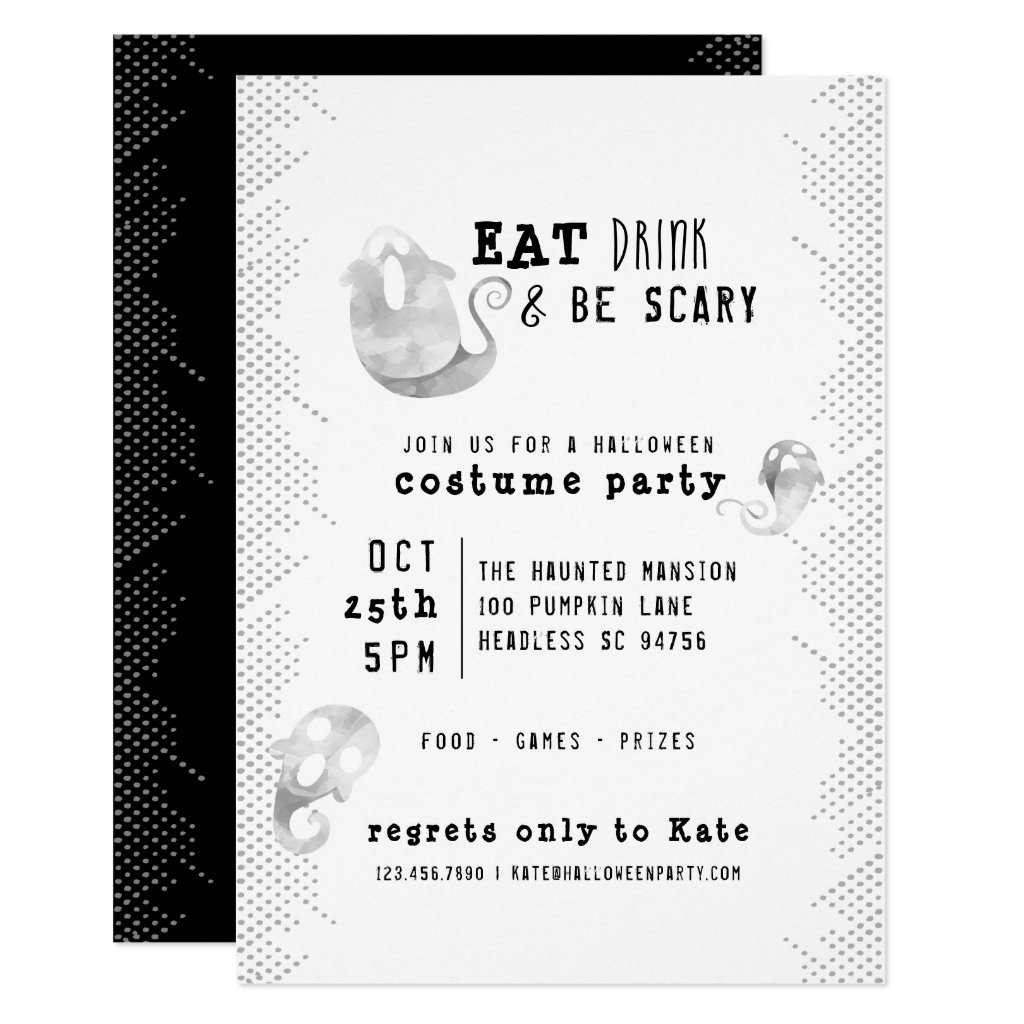 Cute Watercolor Ghost Eat Drink Be Scary Halloween Invitation
