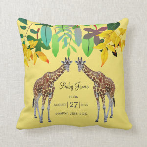 Cute Watercolor Giraffes Baby Nursery Birth Stats Throw Pillow