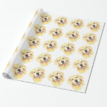 Cute Watercolor Golden Retriever Dog Pet Animal Gift Wrap Paper