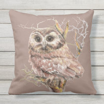 Cute Watercolor Little Owl Bird Nature Art Throw Pillow