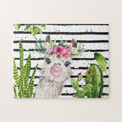 Cute Watercolor Llama  Floral Cactus  Stripes Jigsaw Puzzle
