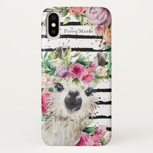 Cute Watercolor Llama   Floral & Stripes Monogram Phone Case
