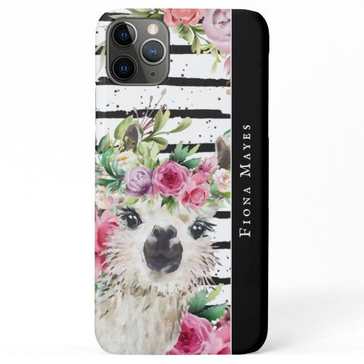 Cute Watercolor Llama | Floral & Stripes Monogram iPhone 11 Pro Max Case