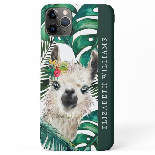 Cute Watercolor Llama | Tropical Monstera Leaf iPhone 11 Pro Max Case