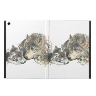 Cute Watercolor Mother Wolf & Cubs Animal Nature Cover For iPad Air