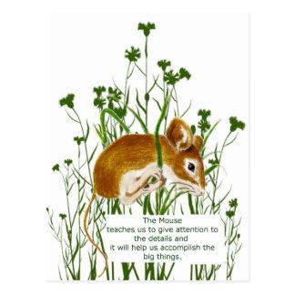 Cute Watercolor Mouse Animal Totem Spirit Guide Post Card