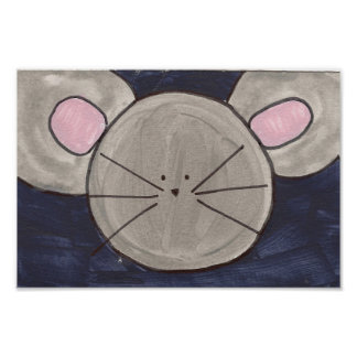 Cute Watercolor Mouse Poster