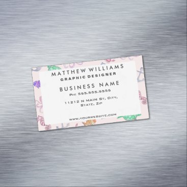 Beach Themed Cute Watercolor Nautical Sea Beach Pattern Magnetic Business Card
